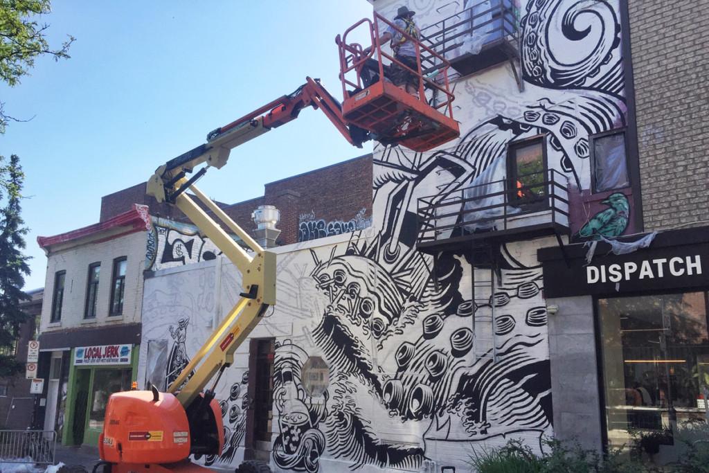Duluth / Saint-Laurent, MURAL by Jason Wasserman in progress.